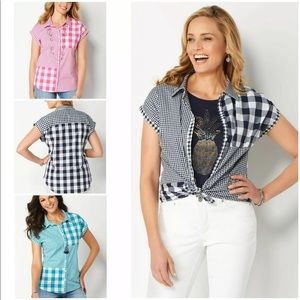 Christopher & Banks Gingham Button Down M L XL